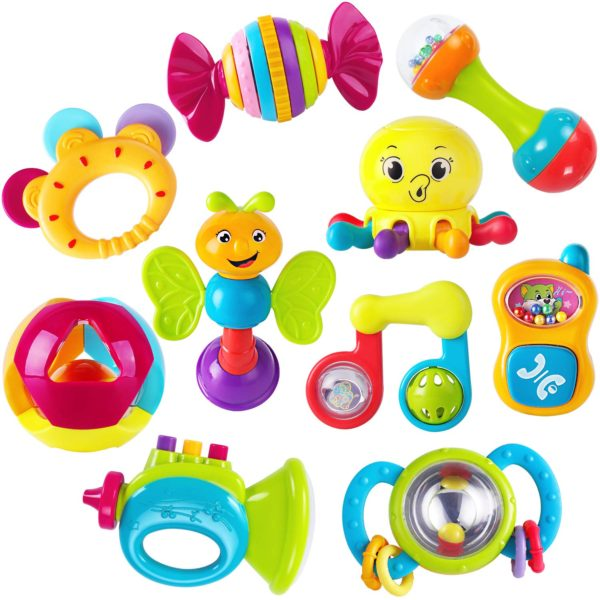 iPlay, iLearn - Baby Rattles Teether, Shaker, Grab and Spin Rattle, and Musical Toy Set